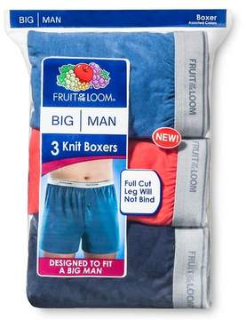 Fruit of the Loom Men's 3pk Big Man Knit Boxers - Blue/Red/Navy