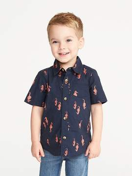 Old Navy Sea-Creature Print Built-In Flex Shirt for Toddler Boys