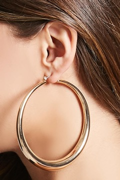 FOREVER 21 Crescent Drop Hoop Earrings