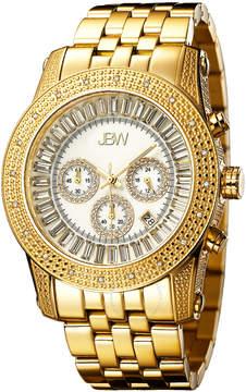 JBW Krypton Swarovski Crystal White Chronograph Dial Gold-tone Steel Bracelet Men's Watch