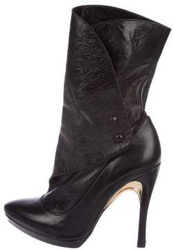 Alice + Olivia Leather Mid-Calf Boots