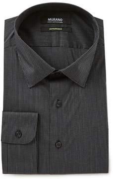 Murano Slim Fit Spread Collar Performance Grid Checked Dress Shirt