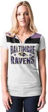 5th & Ocean By New Era Women's by New Era Baltimore Ravens Burnout Henley Tee