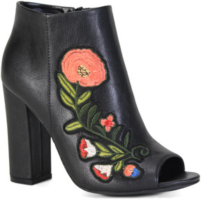 Bamboo Black Floral Encounter Peep-Toe Bootie - Women