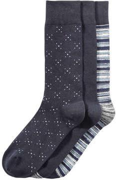 Joe Fresh Men's 3 Pack Print Socks, JF Midnight Blue (Size 10-13)