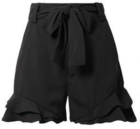 Rebecca Vallance Bellisima Ruffled Crepe Shorts - Black