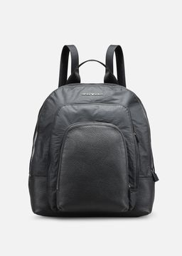 Emporio Armani tumbled leather and nylon backpack with 3 pockets