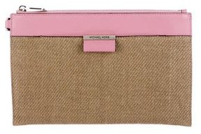 Michael Kors Leather-Trimmed Straw Clutch