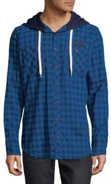 PRPS Check Cotton Hooded Button-Down Shirt