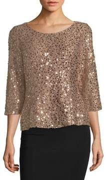 Alex Evenings Quarter-Sleeve Scoopneck Blouse