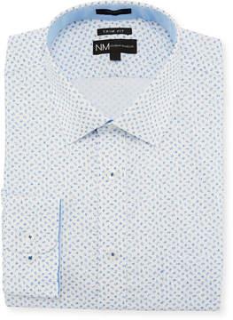 Neiman Marcus Trim-Fit Regular-Finish Micro-Toile Dress Shirt