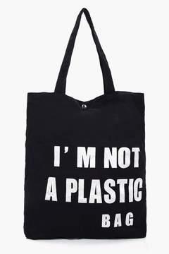 boohoo Anne Slogan Canvas Shopper Bag