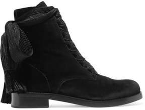 Chloé Harper Velvet Ankle Boots - Black