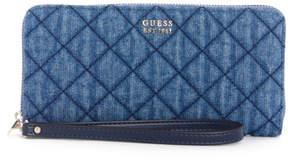 GUESS Victoria Quilted Denim Zip-Around Wallet