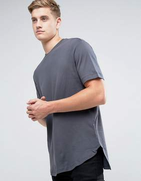 Kiomi Longline Heavyweight T-Shirt With Step Hem In Gray