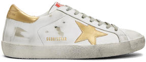 Golden Goose Deluxe Brand White and Gold Superstar Sneakers