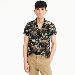 J.Crew Wallace & Barnes short-sleeve slub cotton shirt in dark tropical print