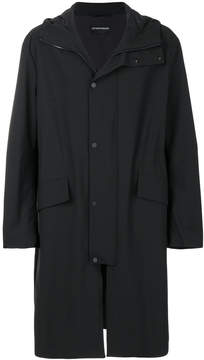 Emporio Armani hooded wrap front coat