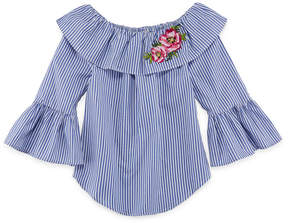 Beautees Embroidered 3/4 Sleeve Woven Top - Girls' 7-16