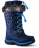 Lands' End Girls Snowflake Boots-Deep Sea Navy