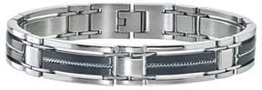 Armani Exchange Jewelry Mens Braided Bracelet In Stainless Steel Black.