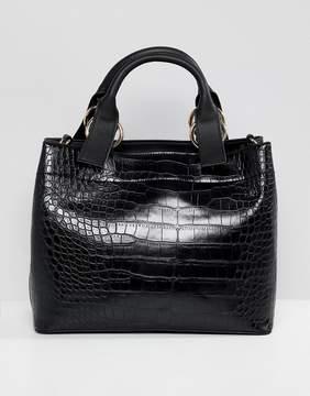 Asos DESIGN croc extended handle tote bag