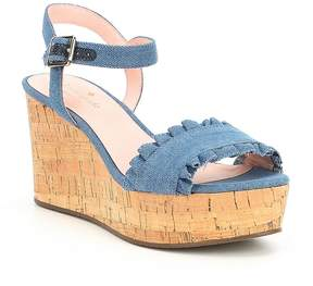 Kate Spade Tomas Denim Ruffle Detail Wedge Sandals
