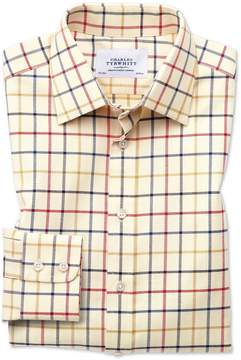 Charles Tyrwhitt Classic Fit Country Check Red and Blue Cotton Dress Shirt Single Cuff Size 15.5/33