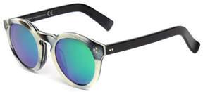 Illesteva Leonard II Round Sunglasses, Horn/Black/Green