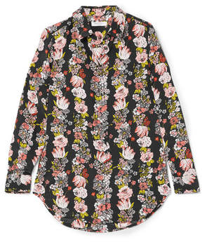Equipment Essential Floral-print Silk Crepe De Chine Shirt - Black
