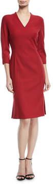 Escada V-Neck 3/4-Sleeve Wool Dress with Flounce Hem