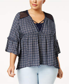 Eyeshadow Trendy Plus Size Crocheted-Trim Top