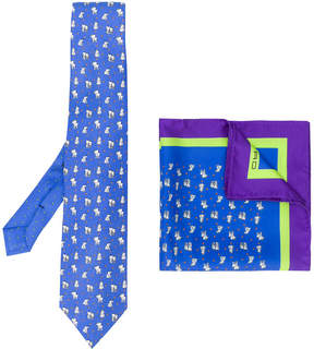 Etro elephant print tie and pocket square