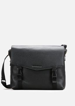 Emporio Armani grainy leather and nylon messenger bag
