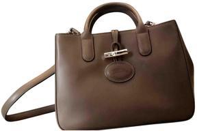 Longchamp Roseau leather handbag - BROWN - STYLE
