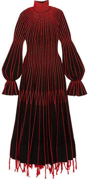 Alexander McQueen Embroidered Plissé-silk Turtleneck Dress - Black