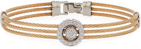 Alor Classique Steel & 18k Diamond Triple-Row Cable Bangle, Rose-Tone