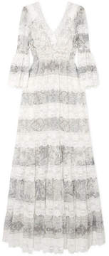 Etro Lace-trimmed Printed Cotton And Silk-blend Gown - Ivory