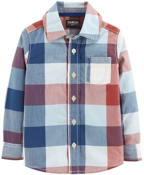 Osh Kosh Oshkosh Bgosh Toddler Boy Checked Plaid Button Down Shirt