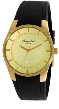 Kenneth Cole Stainless Steel Faux Leather Band Watch 0108-10027722