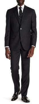 David Donahue Black Jacquard Two Button Notch Lapel Wool Classic Fit Suit