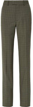 Balenciaga Le Monsieur Checked Wool And Mohair-blend Straight-leg Pants - Army green