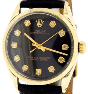 Rolex Oyster Perpetual 1024 14K Gold Shell No-Date Black Diamond Mens Watch