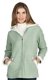 Denim & Co. Heathered Fleece Jacket w/Sherpa Lining and Hood