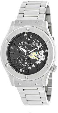 Heritor Automatic Gemini Mens Skeleton Dial Bracelet Silver Tone/Black Watch