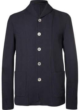 Giorgio Armani Navy Shawl-Collar Textured Cotton-Blend Blazer