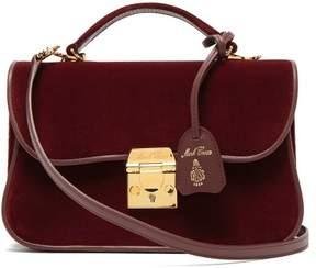 Mark Cross Dorothy Velvet And Leather Shoulder Bag - Womens - Burgundy