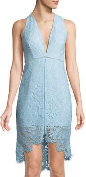 Astr Caroline Lace High-Low V-Neck Dress