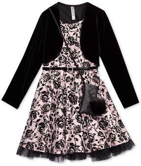 Beautees 2-Pc. Velvet Jacket & Dress Set With Coordinating Purse, Big Girls Plus (8-20)