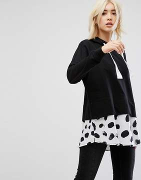 Noisy May Hoodie With Contrast Spotted Hem